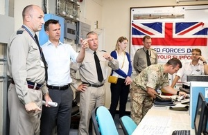 Armed Forces Minister Mark Lancaster is briefed by troops at RAF Akrotiri. Crown Copyright.