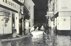 Flooding in the centre of Sidmouth, July 1968