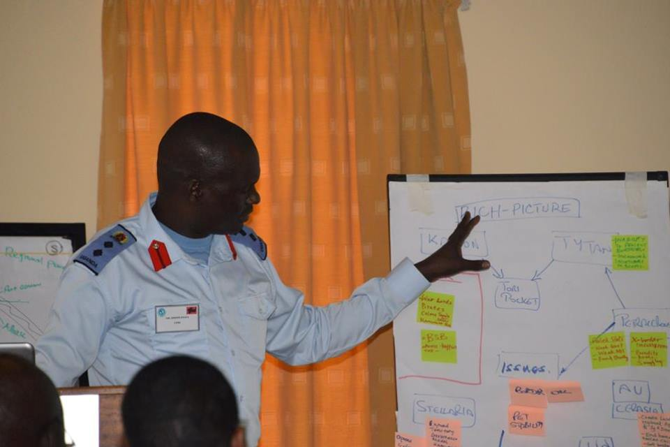 A participant presents the results of an excercise at the Generals and Senior Officers Study Period 2018