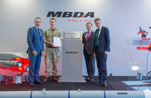Defence Secretary Gavin Williamson unveiling a plaque at MBDA in Bolton