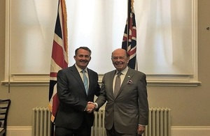 Picture of International Trade Secretary Dr Liam Fox meeting US Commerce Secretary Wilbur Ross
