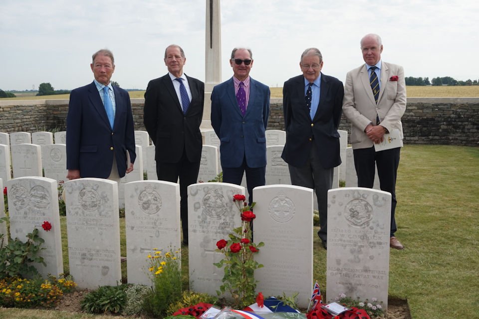 Five great nephews of Lieutenant Charles Stonehouse who attended today's ceremony in France, Crown Copyright, All rights reserved