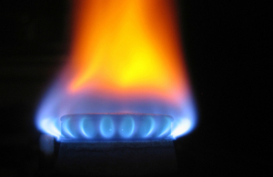 An image of a flame from a gas burner.