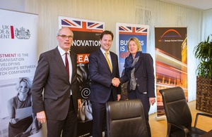 British Deputy Prime Minister Nick Clegg together with Shaun Kingsbury, CEO of the UK Green Investment Bank, introduced a round table event