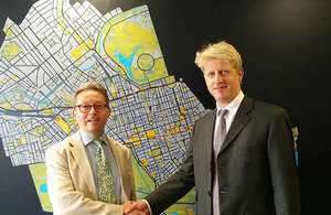 Image of minister Jo Johnson with Westminster County Council deputy leader David Harvey.