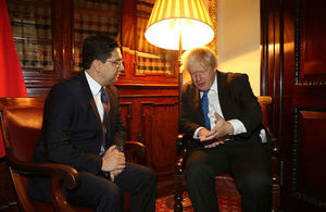 Moroccan Foreign Minister Nasser Bourita and Foreign Secretary Boris Johnson.