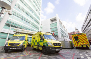 Ambulances parked outside UCLH