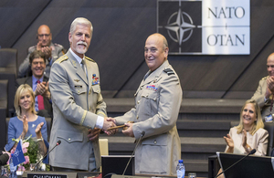 General Petr Pavel, outgoing Chairman of the Military Committee and Air Chief Marshal Sir Stuart Peach, incoming Chairman of the Military Committee. Copyright NATO image.