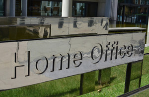 Home Office sign outside 2 Marsham Street
