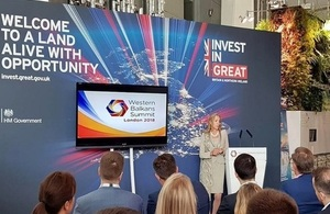 Picture of Baroness Fairhead speaking at the London 2018 Western Balkans Summit.