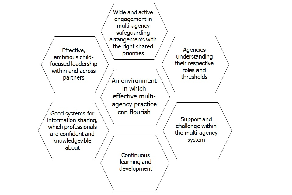 Diagram showing different elements for an environment in which effective multi-agency practice can flourish.
