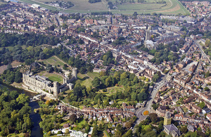 Aerial view of the city of Warwick