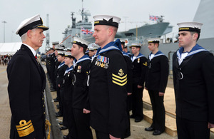 Vice Admiral Sir Alan Massey inspects members of HMS Defender's ship's company [Picture: Leading Airman (Photographer) Ben Sutton, Crown copyright]