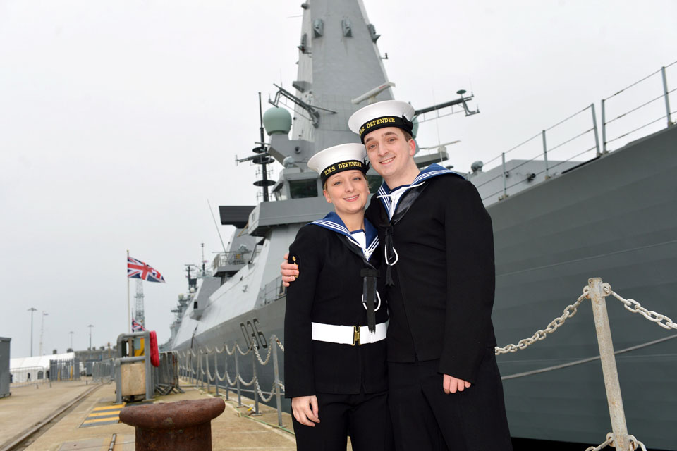 Engineering Technician (Marine Engineer) Stephen Smith with his sister Able Seaman (Logistics) Samantha Smith