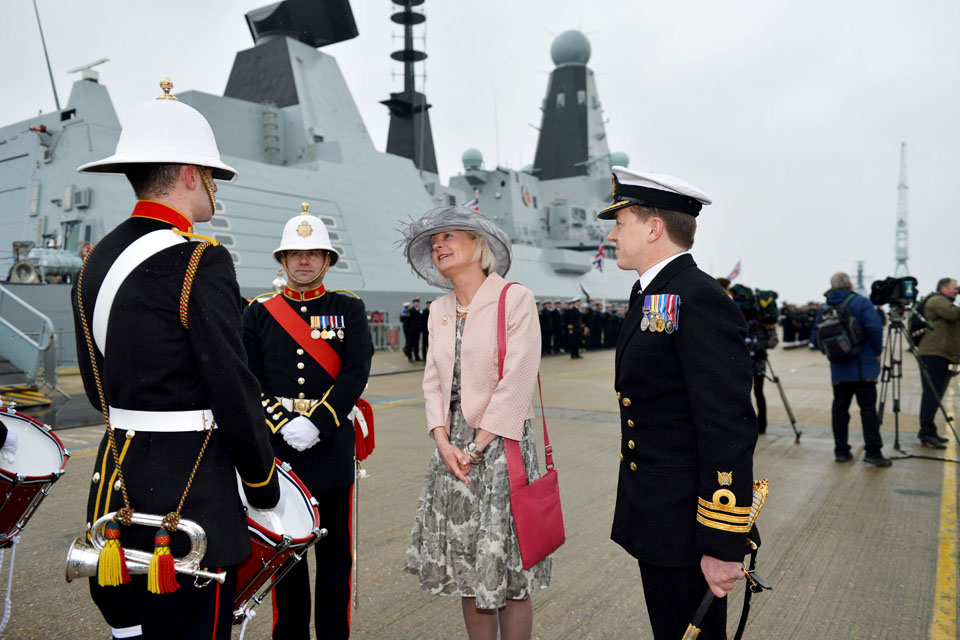 Lady Julie Massey meets Royal Marines band members