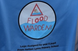 Image shows the flood warden logo worn by wardens across the North East