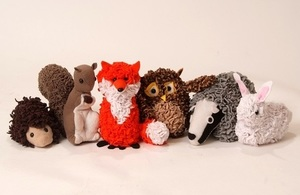 Picture of 'proggy rag rug' animals from Craft Yourself Silly. Animals include a fox, kangaroo, hedgehog, owl, badger and rabbit.