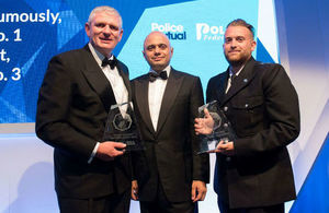 The Home Secretary, Sajid Javid, with winners of the 23rd Police Bravery Awards