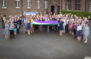 Around 30 organisations gathered to see the suffrage flag in Cumbria