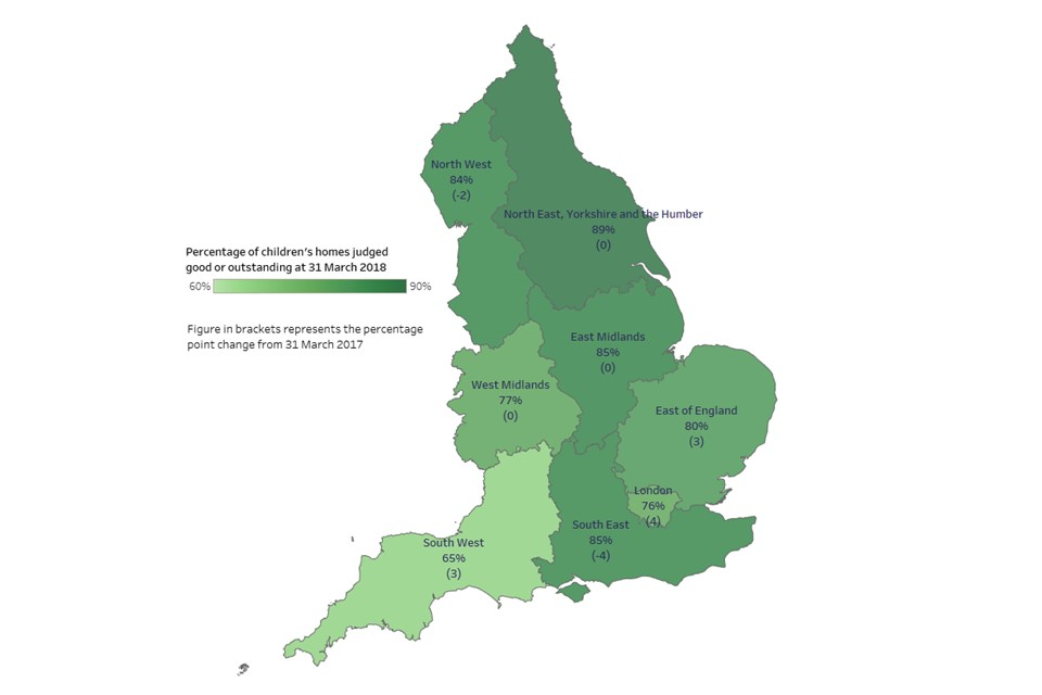 The map showing the percentage of children's homes judged good or outstanding in each region as at 31 March 2018