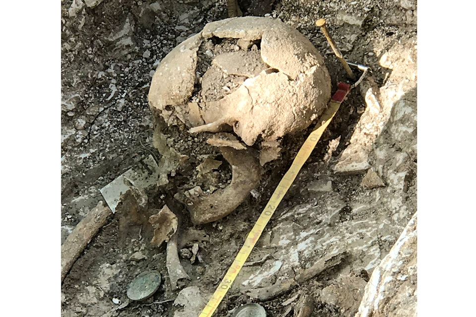 Skull excavated at Barrow Clump in Salisbury Plain. Photo: Crown Copyright 2018
