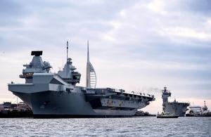 Queen Elizabeth carrier docked at Portsmouth