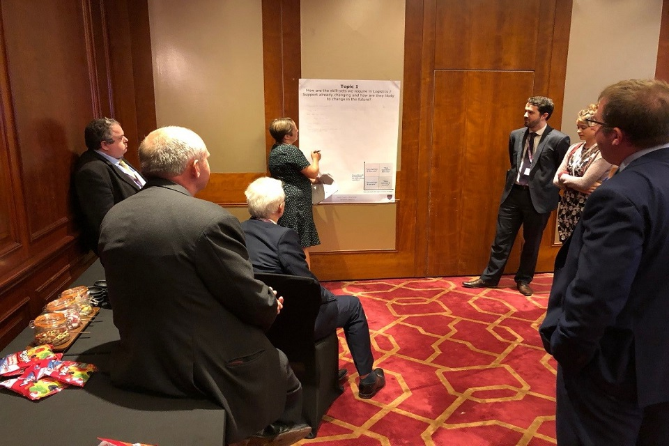 Delegates conduct workshops on logistic information systems and career streams. Crown Copyright 2018. Photographer: Major John Vance.
