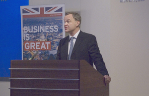FCO Minister Mark Simonds addressing UK-Portugal business conference