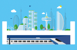 Future cities illustration with skyscrapers and HS2 train