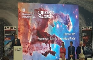 Picture of the International Trade Secretary Liam Fox speaking to the UK Space Agency at Farnborough.