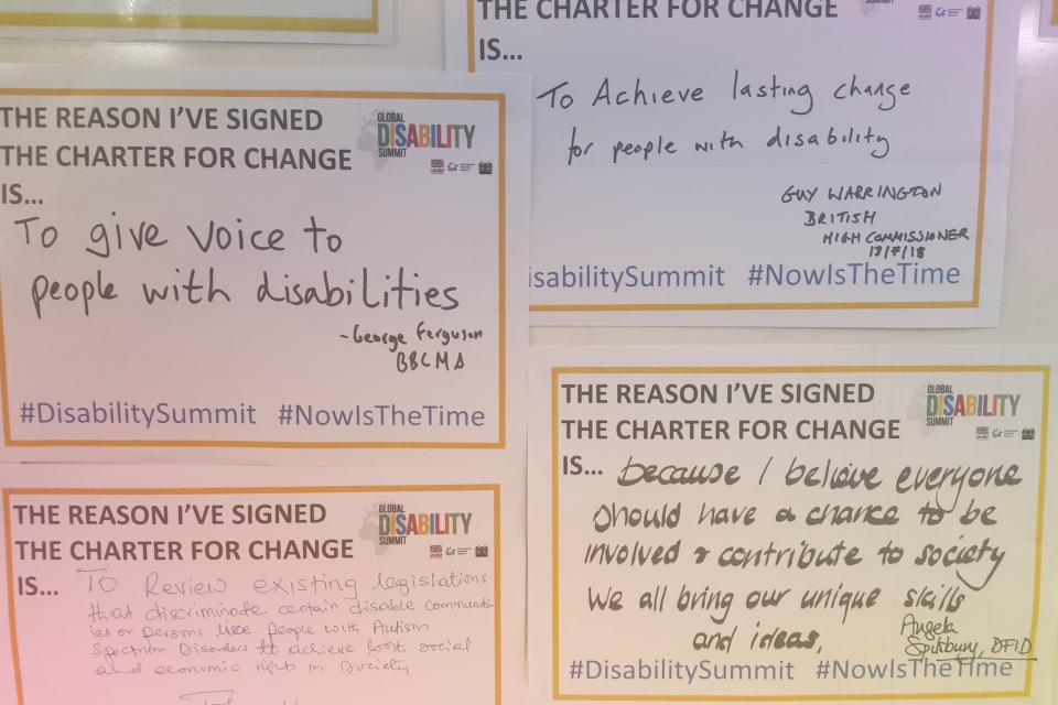 Signed Disability Charter for Change