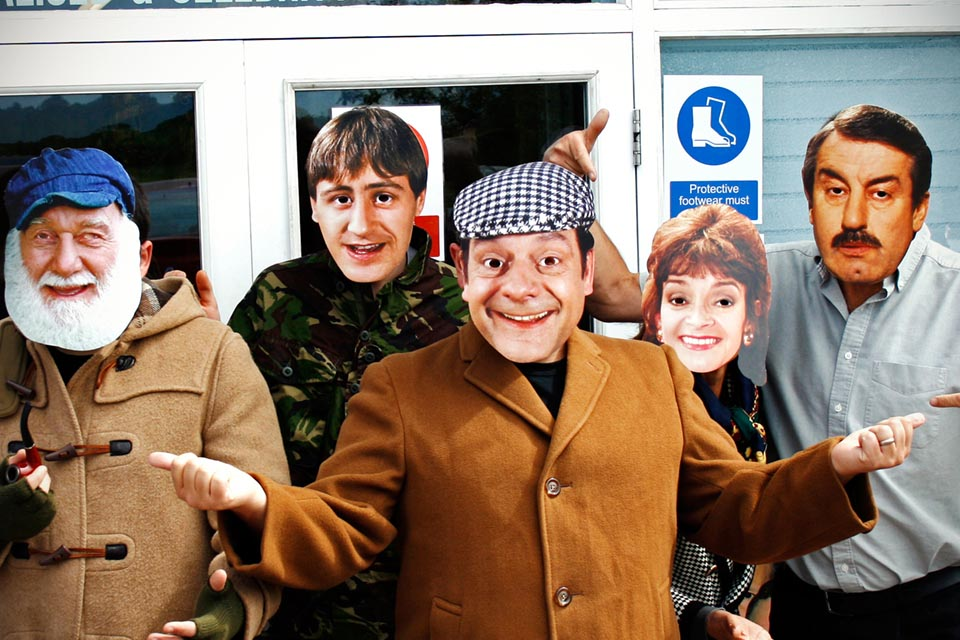 Face masks of characters from Only Fools and Horses