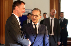 Foreign Secretary Jeremy Hunt shaking hands with German Foreign Secretary Heiko Maas