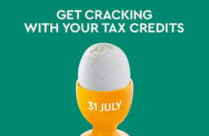 "Tax credits graphic stating ""Get cracking with your tax credits""."