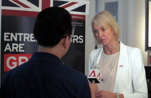 APPG chair Margot James MP in a media interview during the Singapore visit