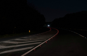 A38 road studs at night time