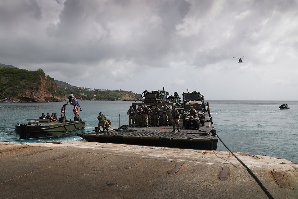 Fleet Auxiliary vessel MOUNTS BAY and her crew conducting a Humanitarian Relief and Disaster Relief Exercise in Montserrat.