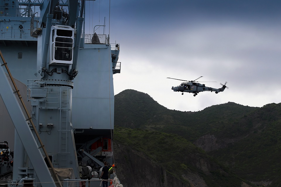 A Wildcat helicopter takes off from RFA Mounts Bay during the Humanitarian Relief and Disaster Relief Exercise