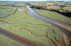 Aerial view of marsh land in the Lower Otter estuary