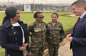Defence Secretary Gavin Williamson talks to Women, Peace and Security trainers in Addis Ababa, Ethiopia.