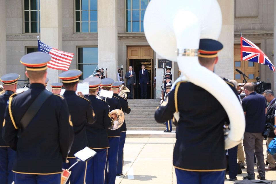Defence Secretary Gavin Williamson with US Secretary of Defense Jim Mattis observe a sunset parade