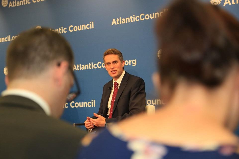 Defence Secretary Gavin Williamson speaking at the Atlantic Council