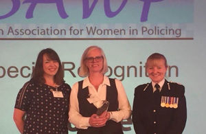 Inspector Anne Turner receiving her award at the British Association for Women in Policing (BAWP) Awards.