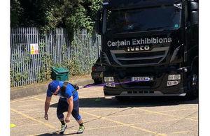 Police Constable Josh Haydock pulling a 9.5 tonne truck.