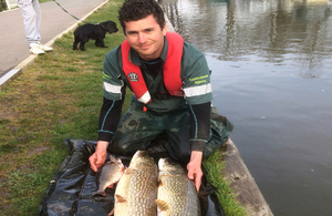 Environment Agency officer with fish at water's edge