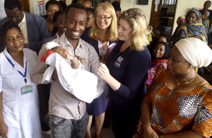 International Development Secretary Penny Mordaunt visits a family planning clinic in Tanzania.