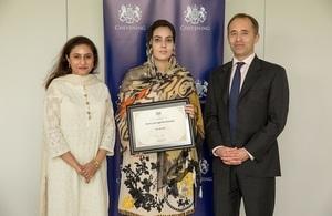 The British High Commissioner Thomas Drew, Munizae Jehangir and Sana Gul at the event.