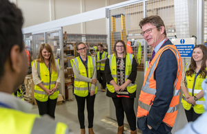 Greg Clark MP with apprentices and graduates at Dounreay