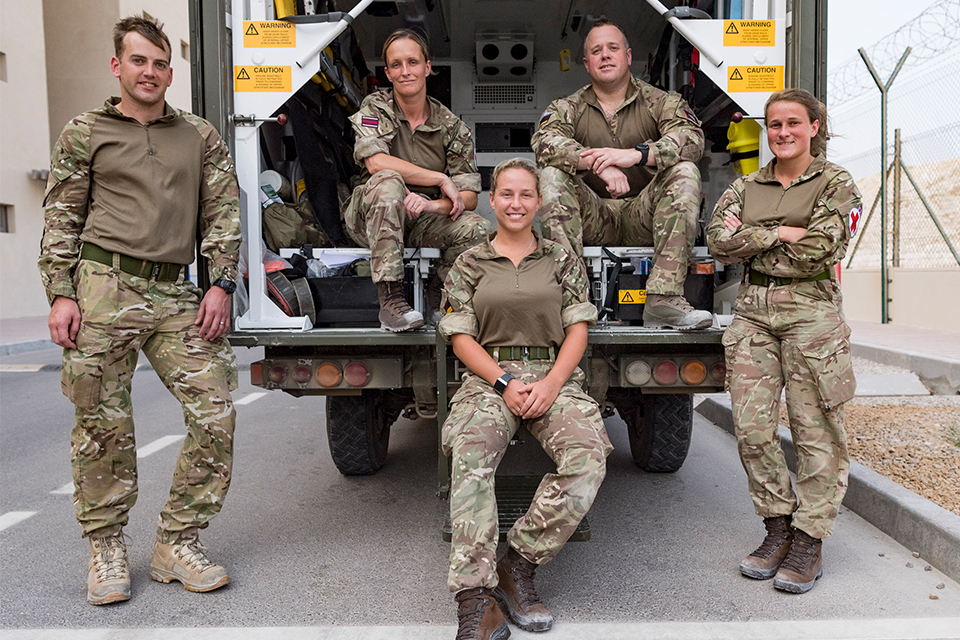 Members of the Joint Medical Group pose by their ambulance