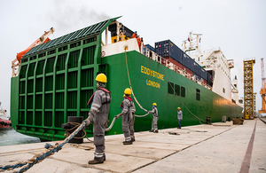 UK's Eddystone RORO ship is secured by Omani dockworkers in Duqm Port, Oman